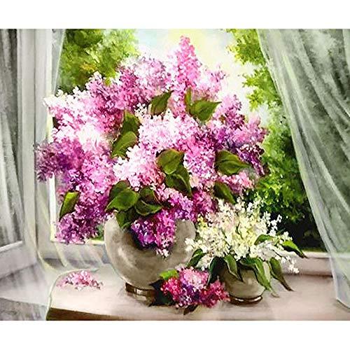 5D-diamantschilderij om zelf te maken, volledig vierkant, diamant-kunst, vensterbank, bloem, 40 x 35 cm, kruissteek, kristallen borduurwerk, thuisdecoratie