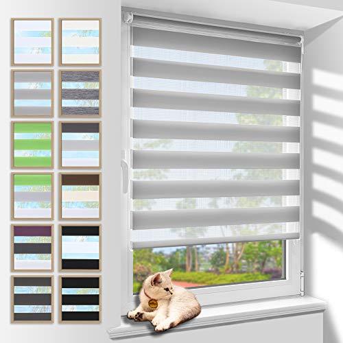 Zarnan Klemmfix Doppelrollo ohne Bohren 100x120cm(BxH) Grau,Duo Rollo Blickdicht Zebrarollo für Fenster&Tür Wohnzimmer Küche Büro