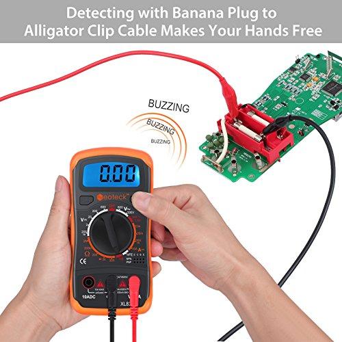 Neoteck Digital Multimeter, Pocket Backlight Multimeter Voltmeter Ammeter Ohmmeter AC/DC Voltage DC Current Resistance Diodes Transistor Audible Continuity Tester