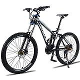 Adulto Montaña Bicicletas Outroad Montaña Bicicleta, Aleación de Aluminio Completo Suspensión Doble Conmoción Absorción MTB Bicicleta, 9 Piezas Posicionamiento Rueda Montaña Bicicleta,Negro,24 Speed