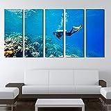 zzlfn3lv Modulaire Canvas HD Print Pictures Decoracin del hogar Arte de la Pared 5 Stuckers Ocean Sports Schilderen Oceaan Vis Coral Poster Stand