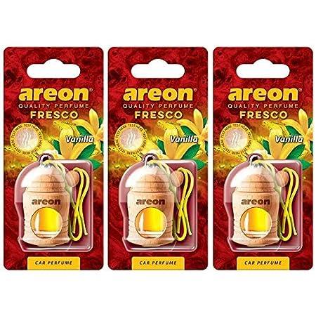 Areon Fresco Auto Vanille Duft Glas Duftflakon Set Flakon Holz Hängend Anhänger Spiegel Gelb 4ml Pack X 3 Auto