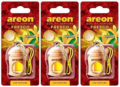 AREON Fresco Deodorante Auto Vaniglia Dolce da Appendere Specchietto Pendente Boccetta Giallo Legami 3D (Set x 3)