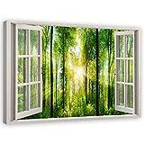Feeby Cuadro de Pared XXL Bosque Impresión Lienzo con 3D Efecto Verde 120x80 cm