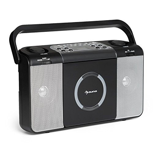 AUNA Boomtown - Radio CD , Equipo estéreo , Boombox , Radiograbadora , MP3 , CD , USB , Asa , Radio FM , 2 x 1,5 W de Potencia Media , con Pilas o con Cable , Negro