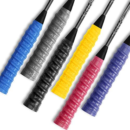 Ryaco Griffbänder Badminton Grip, 6 Pack Griffband für Tennis Anti Slip Ersatz Schläger Overgrips Multicolor für Tennis Badminton Squash Racketball Schläger und Angelrute