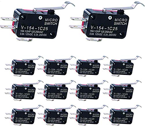 VISSQH 14 Stück mikroschalter endschalter V-154-1C25, Lange Scharnier Hebel Mikroschalter,SPDT 3 polig Endschalter, Momentary, für Arduino-Projekte Elektronischen Geräten