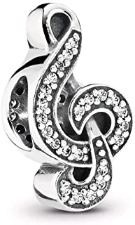 Sweet Music Treble Clef Charm, Sterling Silver, Cubic Zirconia, One Size