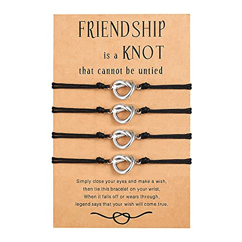 Best Friend Friendship Bracelets for 4 Forever Love Knot Matching Distance Bracelets Jewelry for 4 Women Girls Bridesmaid Friendship Gifts
