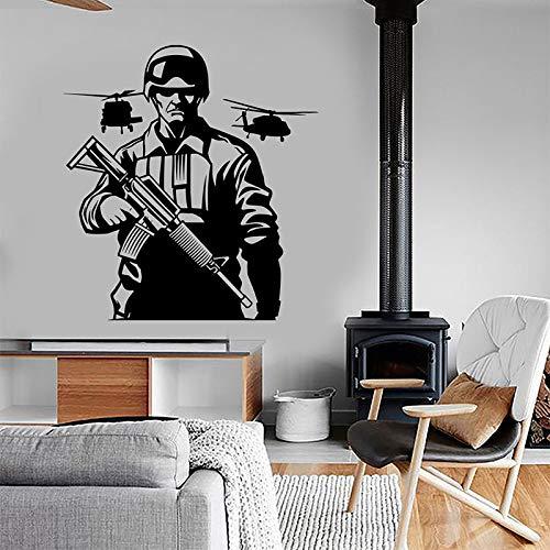 wZUN Soldado helicóptero ejército Fuerza aérea Pegatina de Pared Vinilo decoración del hogar habitación Adolescente Dormitorio ejército calcomanía 42X45cm