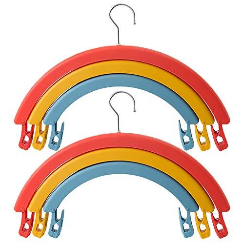 Ghaike Hanger, drie-laags multifunctioneel roterend regenboogdroogrek, antislip, niet-markerend, sterk en duurzaam, kan broeken en lakens ophangen poppen 2 stuks