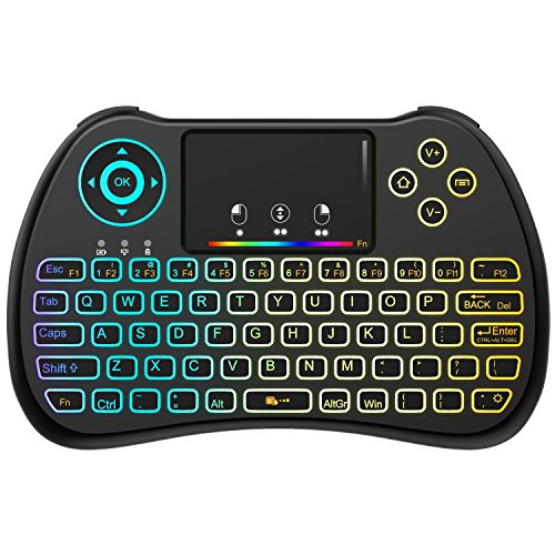 (Upgraded Version) Aerb 2.4GHz Colorful Backlit Mini Wireless Keyboard with Mouse Touchpad...