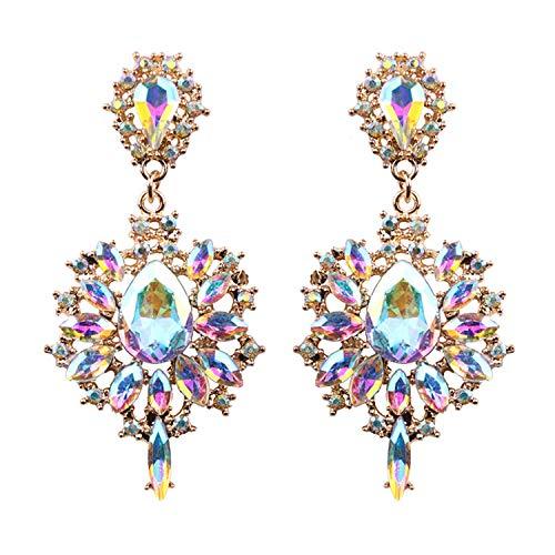 Presock Pendientes Mujer,Aretes Women Drop Earrings Colorful Flower Big Brand Design Luxury Starburst Pendant Crystal Stud Gem Statement Earrings Jewelry Gifts AB Color