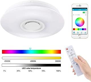 Donpow Luz de techo Led Music con altavoz Bluetooth 60W, Altavoz de alta calidad de sonido Regulable Lámpara de techo moderna de montaje empotrado Control de aplicación y control remoto Luz de techo