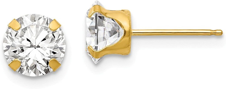 Beautiful Yellow gold 14K Yellowgold 14k Madi K 6.5mm CZ Post Earrings