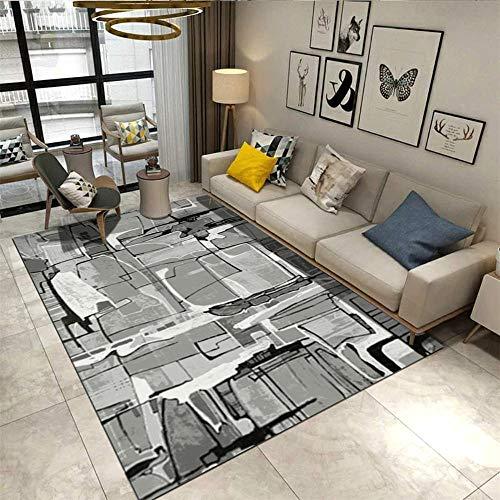 alfombras Pasillo,Alfombra de vacío Suave Anti-ácaro y Suave, Alfombra Gris sin patrón Abstracto geométrico ,Alfombra habitación Matrimonio -Gris_100x220cm