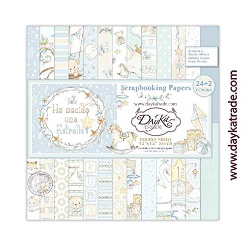 """Dayka Trade Set de Scrapbooking""""Ha Nacido una Estrella"""", niño, 24+2 diseños de papeles 8x8 pulgadas (20x20 cm)"""