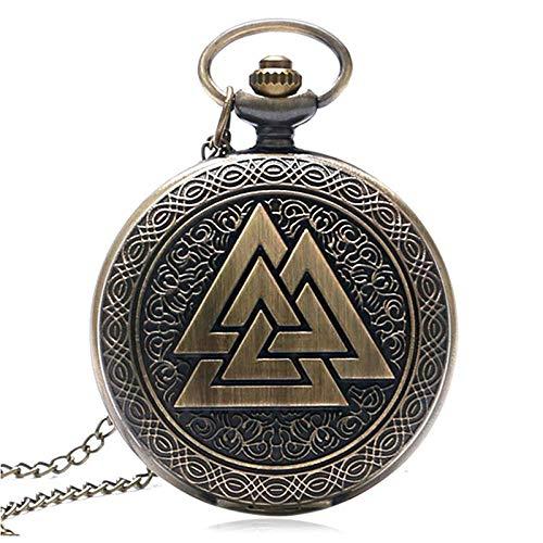 LEYUANA Reloj de Bolsillo de Cuarzo Retro de Tres triángulos entrelazados, mitología nórdica Mujeres Antiguas Hombres Reloj analógico Fob