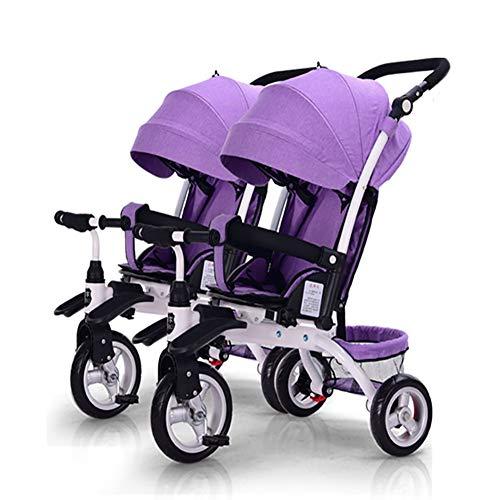 Unbekannt GUO@ Doppelkinderwagen Kinder Doppel Dreirad Tragbare Zwei-Sitzer Baby Artefakt Schieben
