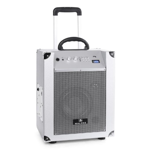 Malone Blockstar - mobile PA-Anlage, PA-Lautsprecher System, Aktiv Box, 50 W RMS, Bluetooth, Pairing-Button, MP3-fähiger USB-Port, UKW Radio, 3,5 mm-Klinke AUX, Subwoofer, silber