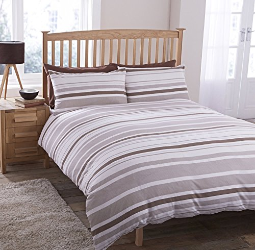 GEO STRIPE BEIGE LINES STRIPED PRINT DUVET SET QUILT COVER PILLOWCASE BEDDING 3 SIZES (Double)
