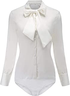 453ecdd73413 Y&Z Women's Tie-Bow Pleated Bodysuit Shirts Button Down Blouse Slim Fit