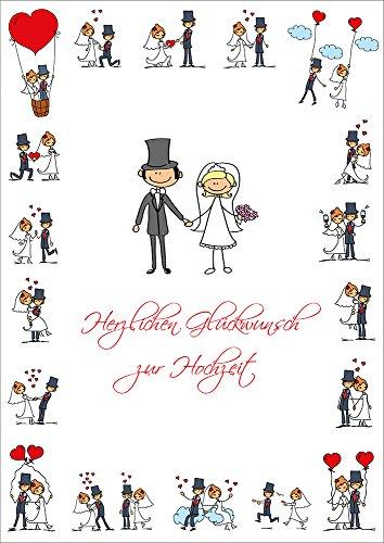 """XXL Glückwunschkarte Hochzeit gross\""""LUSTIGE HOCHZEITSKARTE\"""" im DIN A 4-Format mit Umschlag von EDITION COLIBRI © - umweltfreundlich, da klimaneutral gedruckt (10686)"""