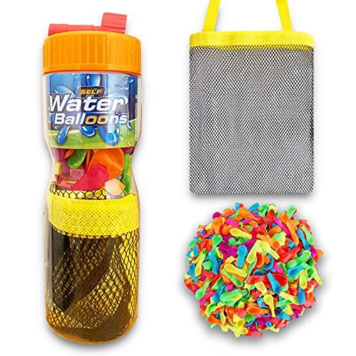Globos de Agua para Fiestas de Verano. Botella con 50 globos, Bolso de Malla y Adaptador de llenado. Juegos de Agua Divertidos. Water Balloons. Juegos al Aire Libre.