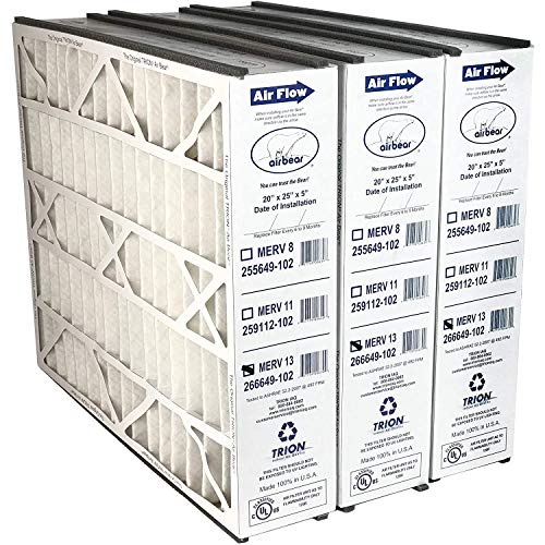 Trion 266649-102 Air Bear 20 x 25 x 5 Inch MERV 13 High Performance Air Purifier Filter Replacement 3 Pack for Air Bear Supreme, Right Angle, and Cub Air Cleaner Purification Systems
