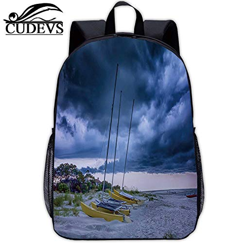 Tybee Island Beach Scenes During rain and Thunder Storm,Print Bag,049746,Mountaineering,17in12.2 Lx5.5 Wx17 H