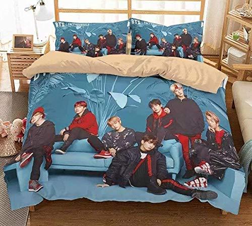 Goplnma Ropa de cama BTS, funda nórdica con funda de almohada Bangtan Boys para A.R.M.Y, estampado 3D, multicolor, (200 x 200 cm, 40)