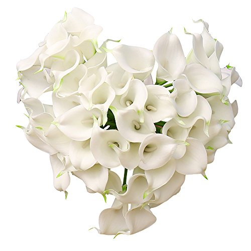 YILIYAJIA Calla Lily Bridal Wedding Party Decor Bouquet PVC Latex Real Touch Flower Artificial Flowers,Pack of 20 (White)