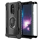 TJS Phone Case Compatible with LG K40/K12 Plus/X4/Solo LTE/Harmony 3/Xpression Plus 2 [Full Coverage Tempered Glass Screen Protector] Aluminum Ring Magnetic Support Built-in Metal Plate Back (Black)