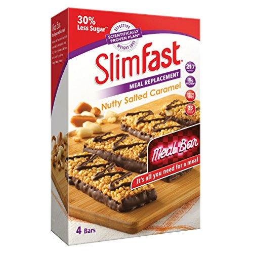 SlimFast High Protein Meal Replacement Bar, Nutty Salted Caramel Flavour, 16 Servings, Pack of 4 Boxes