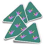 Pegatinas triangulares de vinilo (juego de 4) – Pegatinas japonesas de cisne origami para portátiles, tabletas, equipaje, reserva de chatarra, nevera #12938
