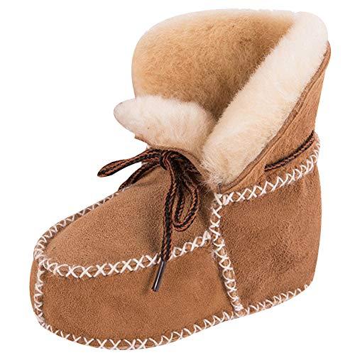 amropi Baby Schuh Stiefel, Unisex-Kinder Babyschuhe in Lammfell-Optik Zum Binden Krabbel-& Hausschuhe (Braun, 0-6 Monate)