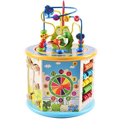 Actividad Cubo de Madera Bead Maze Bead Maze Shape Sorter Educational Development Toy Regalo para niños Actividad de Aprendizaje Divertido Cubo (Color : Multi-Colored, Size : One Size)