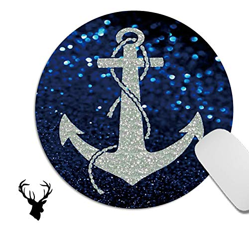 Cute Gaming Mouse pad, Laptop Mousepad for Home Office Working,Non-Slip Round Mouse mat 7.9 x 7.9 x 0.08 Inch (with 2x2 inch Cute Deer Head Stickers) - Blue sea Anchor