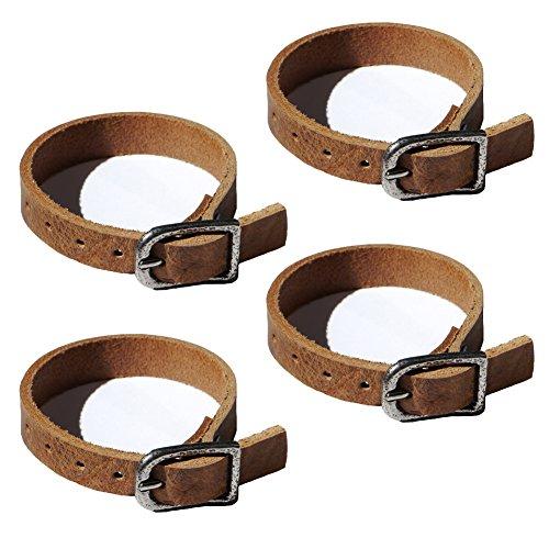 Wolfszeit Befestigungsriemen 4er Pack - Lederriemen aus echtem, stabilen, braunen Büffelleder (15cm)