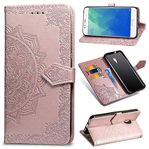 Ycloud PU Leder Tasche für Meizu M5S Kunstleder Wallet Flip Case mit Standfunktion Kartenfächer Entwurf Mandala Prägen Rose Gold Hülle für Meizu M5S