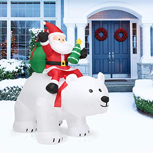 LJN 6.5 Ft Inflatable Christmas Santa Clause Riding The Polar Bear with Shaking Head, Outdoor Indoor Holiday Decorations, Blow Up Lighted Yard Decor