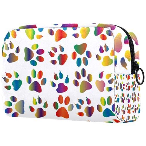 Bolsa de brochas de maquillaje personalizable, portátil, bolsa de aseo para mujer, organizador de viaje, colorido prismático, estampado de huellas de animales