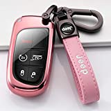 UTA for Jeep Key Fob Cover,Key Fob Cover Case for 2017 2018 2016 Jeep Grand Cherokee Wrangler Compass Cherokee Renegade Patriot Grand Comander 3 4 5 Buttons Protector,Pink