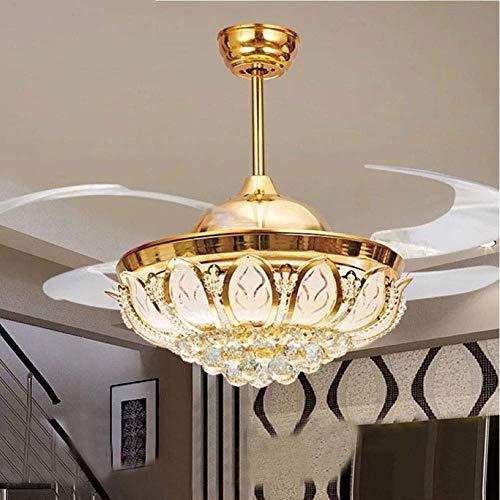 WEM Ventilador de techo de cristal con candelabro LED de luz, aspas retráctiles 3 velocidades 3 colores invisibles con kits de iluminación LED, dormitorio, sala de estar, cocina, estudio, oficina, ve