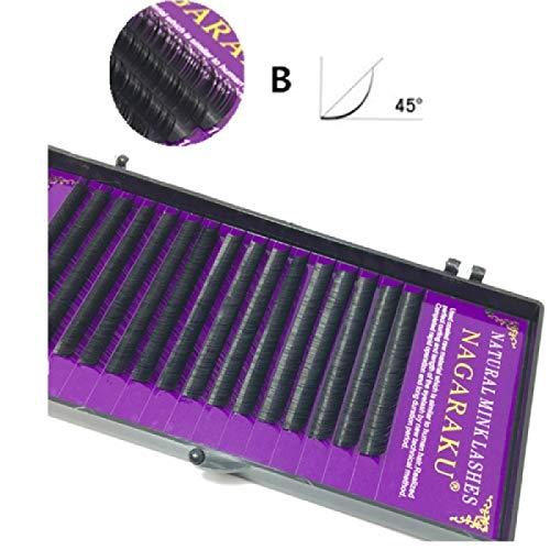 16Rows Natural Makeup Lashes Noir False Eyelashes Eye Lashes Extension Tools, Curl:B, Thickness:0.10mm(15mm)