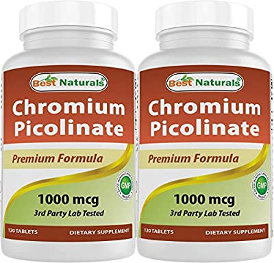Best Naturals Chromium Picolinate 1000 mcg 120 Tablets (Pack of 2)