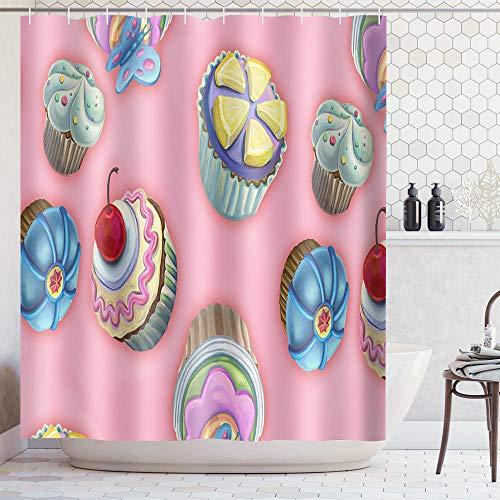 Shenping-art Duschvorhang,Cartoon Niedlichen Rosa Kuchen Muster,Antischimmel-Wasserabweisend-Waschbar,Mit 12 Duschvorhangringen,100prozent Polyester,Für Zuhause Badezimmer Hotel
