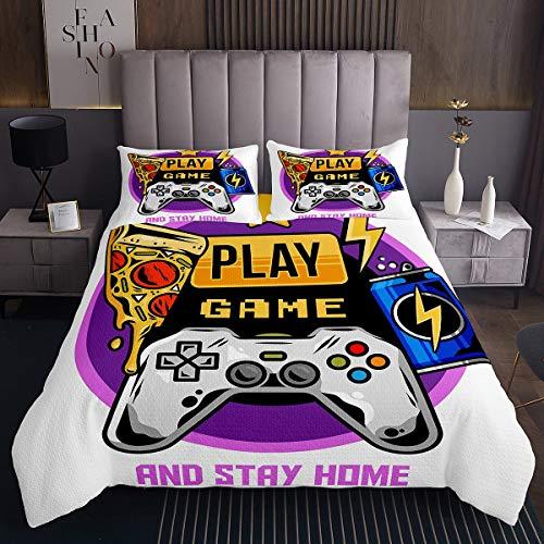 Homewish Teens Games Bedspread Gamepad Modern Gamer Bedding Set Single Size, Video Game Joystick Coverlet Set for Kids Boys Girls Room Decor, Pizza Coke Lightning Print Quilted Coverlet, Purple