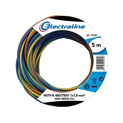 Electraline 25138 Cavo Unipolare N07V-K, Sezione 1x1.5 mm, 5 mt, Marrone/Blu/Verde/Giallo