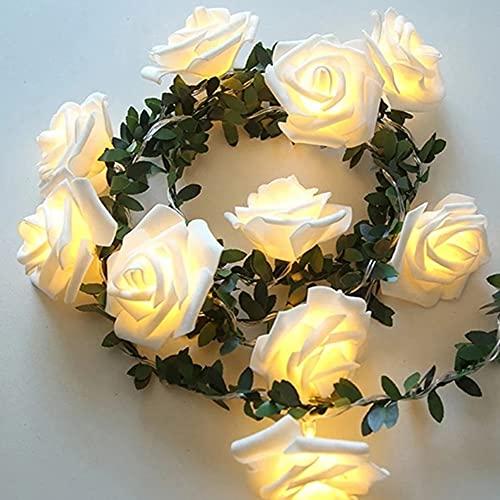 Rosa catene luminose con foglie verdi, Runaup 3M/9,81piedi 20 LED bianco caldo luci natalizie con fiori in rattan, batteria caricata luci decorative per il compleanno partito nozze festival
